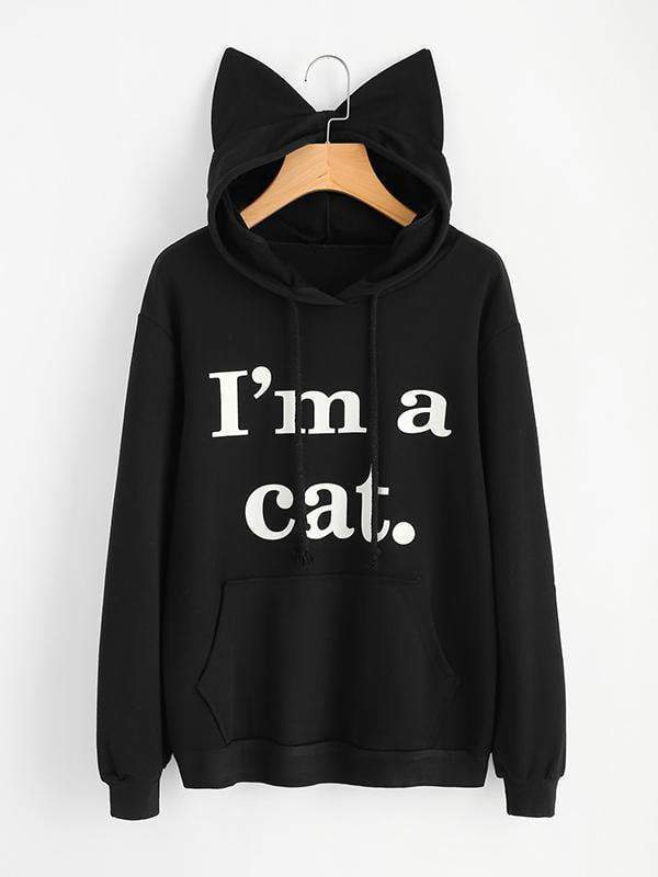 Amazingbe.com Hoodies & Sweatshirts Black / S I'm A Cat Printed Cat Ear Hoodie