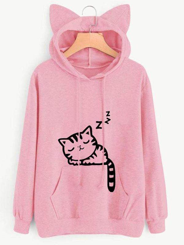 Amazingbe.com Hoodies & Sweatshirts Pink / S Cute Sleep Cat Printed Cat Ear Hoodie