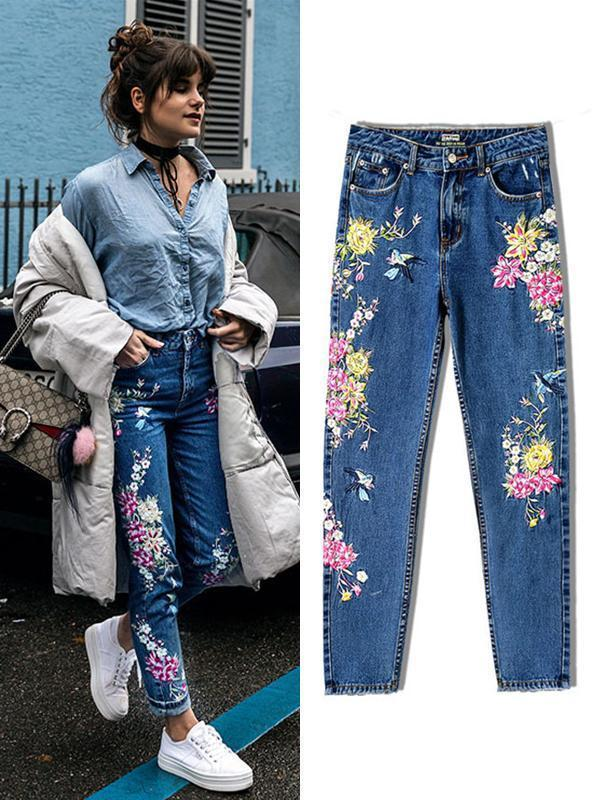 Amazingbe.com Pants 3D Bird Floral Embroidery Jeans