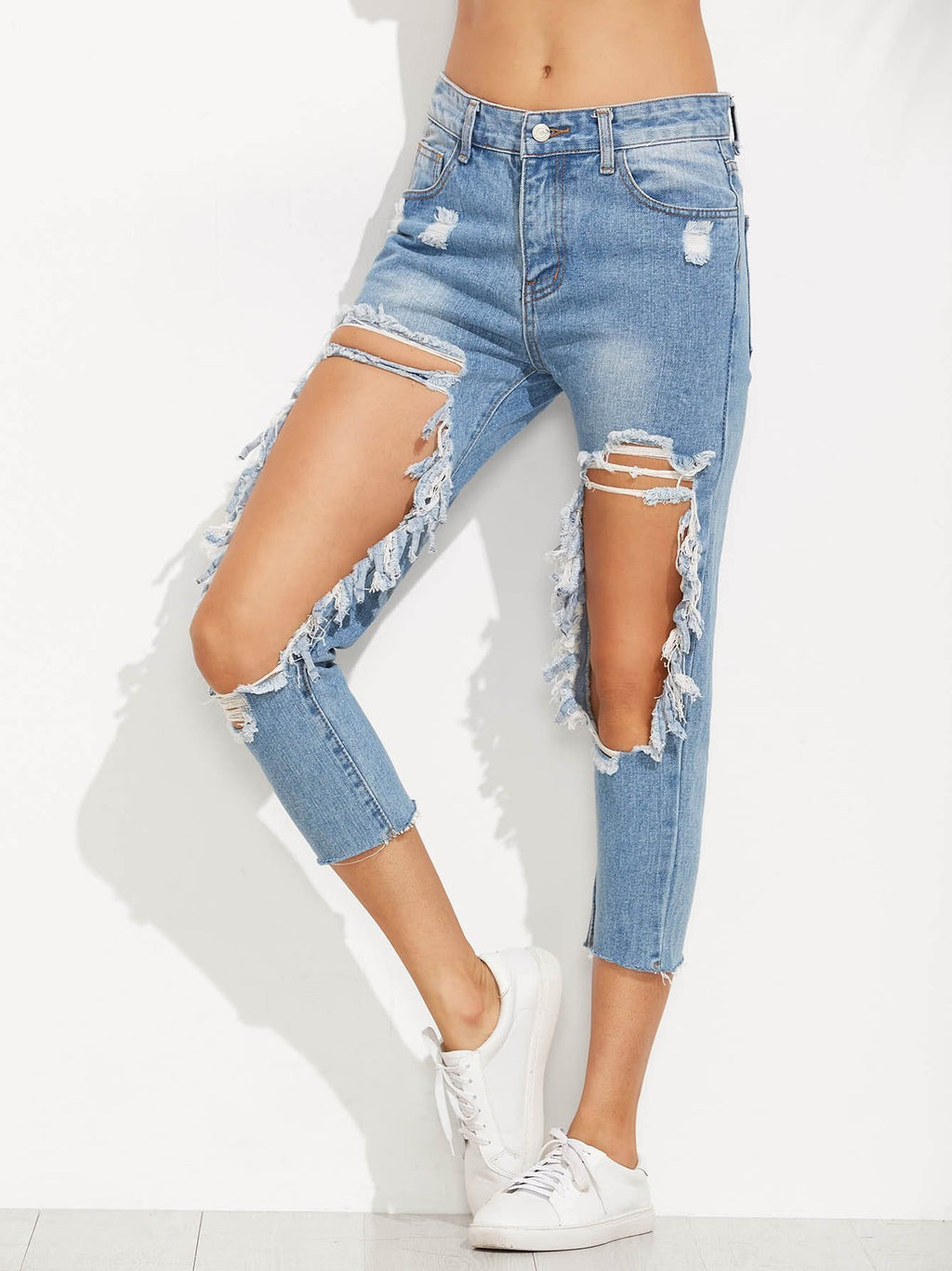 Amazingbe.com Pants Light Blue / S Extreme Distressed Knees Jeans