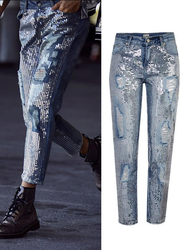 Amazingbe.com Pants Metallic Embroidered Sequins Made Of Old Ripped Jeans