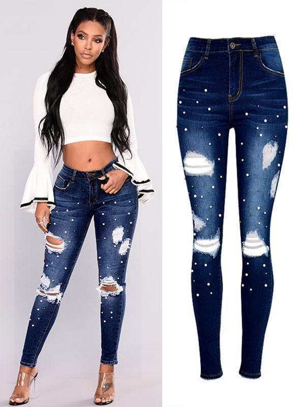 Amazingbe.com Pants Two-Tone Pearl Irregularly Worn Hole Jeans