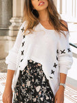 Amazingbe.com Sweaters&Cardigans White / S Lace Up One Shoulder Sweater