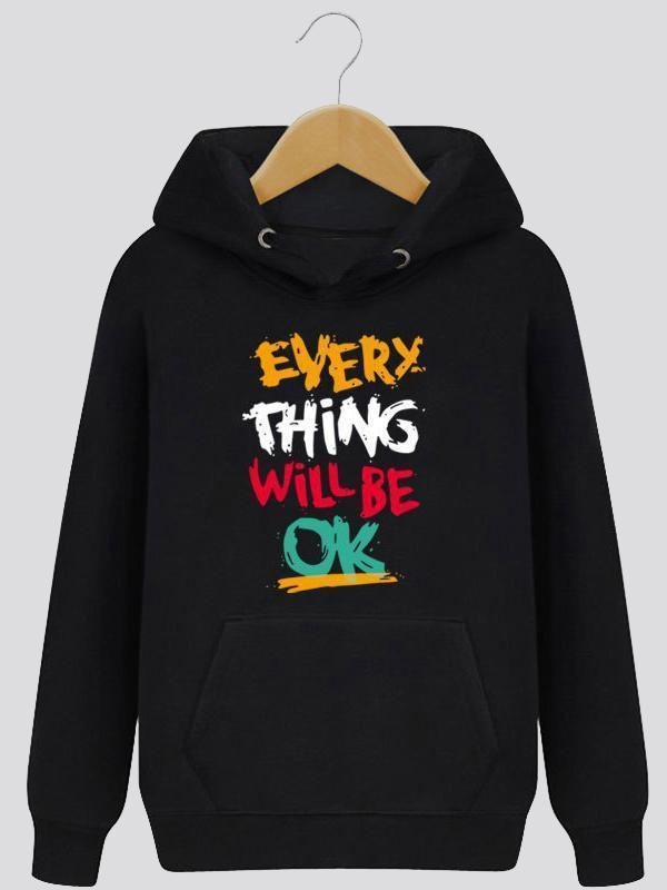 Amazingbe.com Sweatshirts&Hoodies Black / S Everything Will Be Ok Inspirational Letter Print Hooded Sweater
