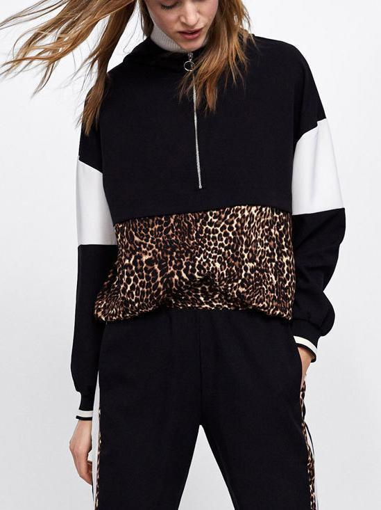 Amazingbe.com Sweatshirts&Hoodies Black / S Stitching leopard sweater