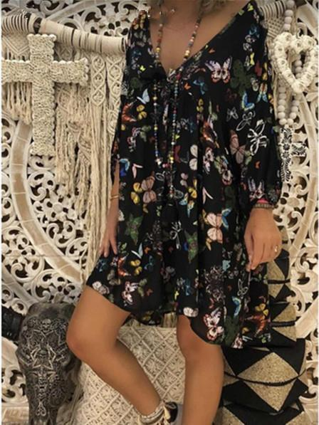 Dadichic.com Midi Dresses Black / S Butterfly Print Cropped Sleeve Dress