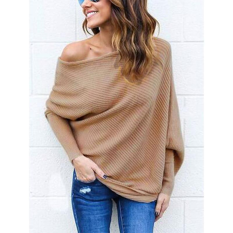 DADICHIC.COM One Shoulder Sexy Solid Polyester Sweater