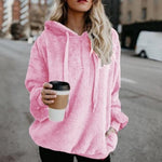 DADICHIC.COM pink / S Autumn Winter Fleece Long-sleeved Solid Color Hoodies And Sweatshirts