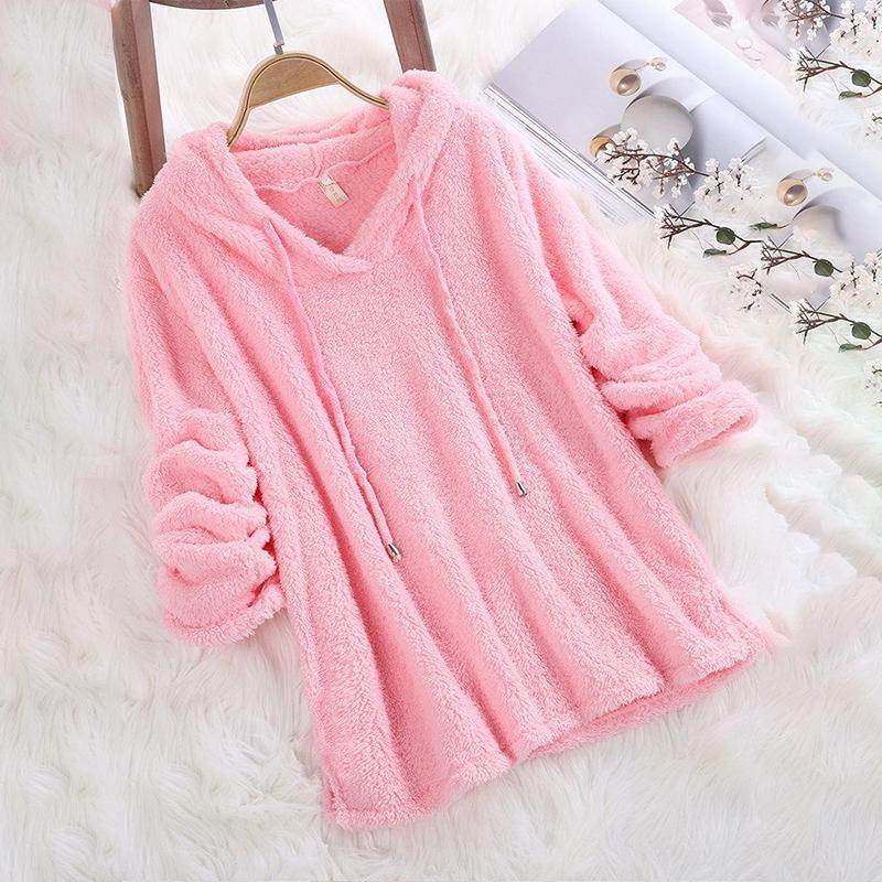 Dadichic.com pink / S Mohair Hooded Solid Color Autumn Winter Long Sleeve Sweatshirts