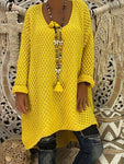 DADICHIC.COM yellow / S Swing Solid Knitted Fall Dress