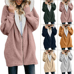 Dadichic.com Zipper Cashmere Solid Sweet Long Sleeve Hoodie Teddy Bear Coats