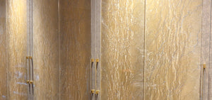 decorative gold fabric door glass