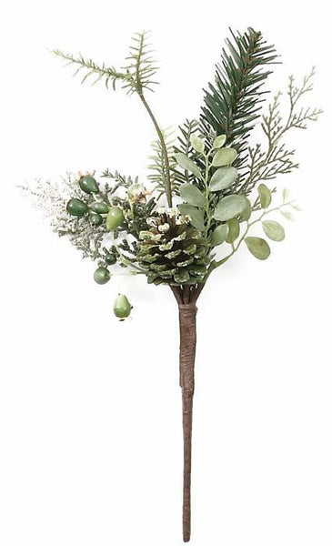 "12"" Mixed Evergreen Puff Pine Pick w/Rosehips-Green   SKU 080707"