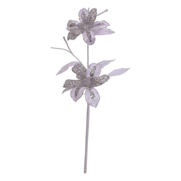 "23"" Velvet Magnolia Flower Pick-White  SKU 0141201"