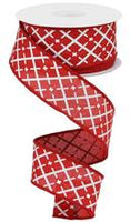 "1.5"" Glittered Argyle Ribbon- Red/White  SKU RG0190424"