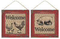 "10""Sq Welcome Sign (Rooster/Chicken or Pig) SKU AP8382"