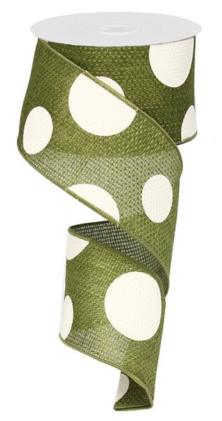 "2.5"" X 10yd Giant Multi Dots Ribbon-Moss Green Ivory RG0120052"