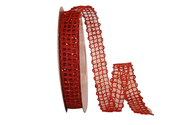 "7/8"" Jute Metallic Ribbon-Red  SKU 25512-065-05J"
