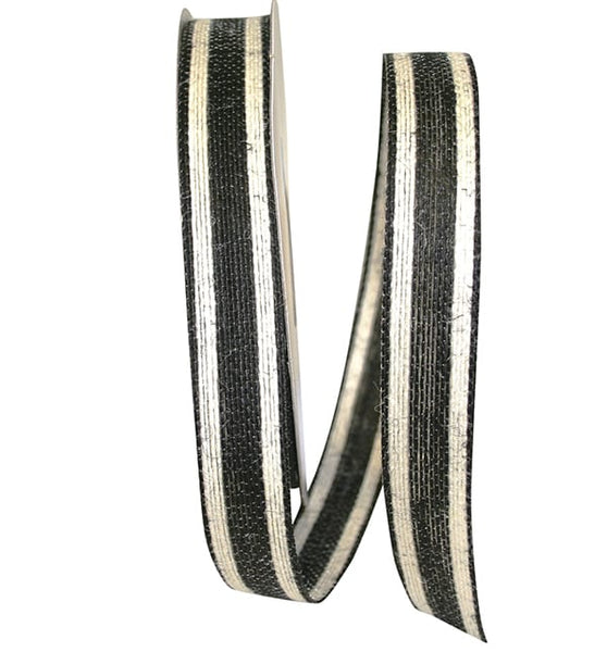 "7/8"" Jute Encore Stripe Ribbon-Black  SKU 25735-031-05J"