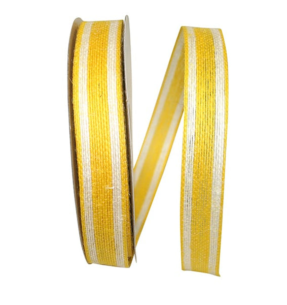 "7/8"" Jute Encore Stripe Ribbon-Yellow  SKU 25735-079-05J"