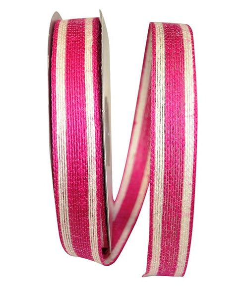 "7/8"" Jute Encore Stripe Ribbon-Hot Pink  SKU 25735-904-05J"
