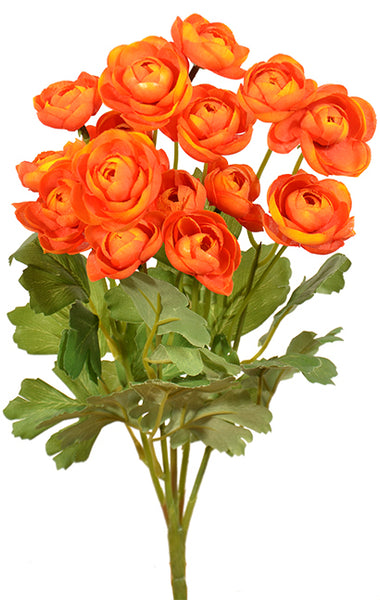 "15"" Ranunculus Bush- Orange SKU 30592OR"