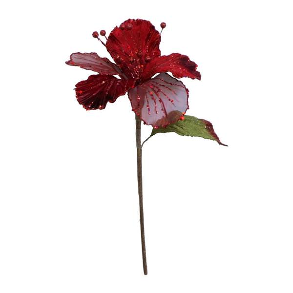 "21"" Velvet Hibiscus Flower Stem-Red   SKU 0143503"