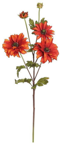 "25"" Daisy Mum w/2 Buds- Rust  SKU 3577-RT"