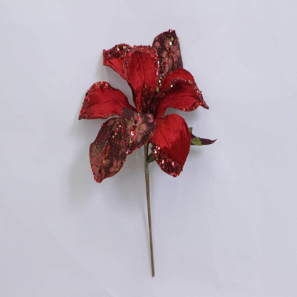 "30"" Beaded Magnolia Flower Pick-Red    SKU 0146403"