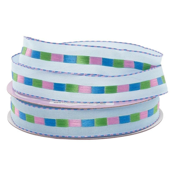 "7/8"" Susie Q Grosgrain Wired Ribbon- Light Blue  SKU 56154103"