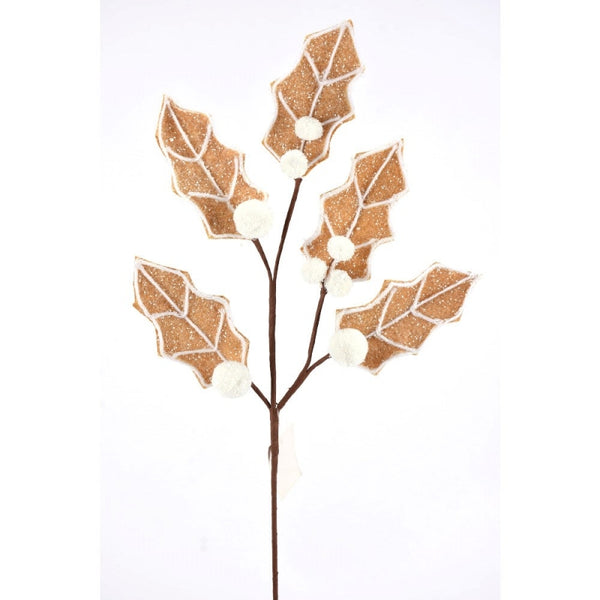 "22"" Gingerbread Holly Leaves Spray- Natural/White    SKU 104564"