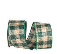 "2.5"" Burlap Check Wired Edge Ribbon- Hunter Green   SKU 74177M-925-40F"