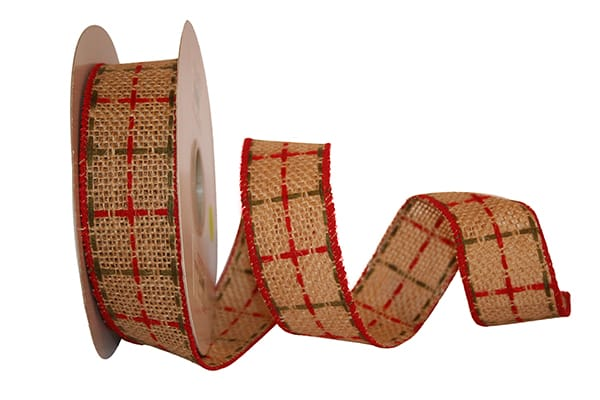"1.5"" Burlap Box Wired Edge Ribbon-Multi SKU 90630W-001-09F"