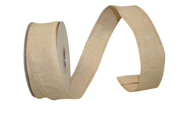 "1.5"" Linen Jute James Wired Edge Ribbon-Natural SKU 92358W-750-09F"