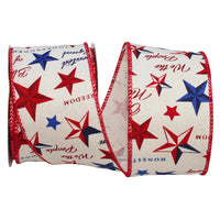 "2.5"" Americana Star Vintage Muslin Ribbon- Natural  SKU 93223W-750-40F"