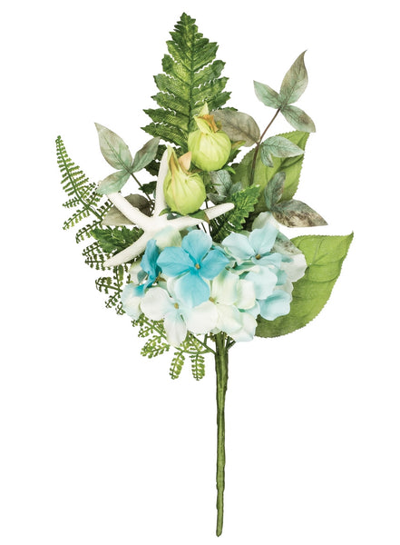 "15"" Hydrangea Fern Sea Star Pick-Aqua/Green  SKU HFNPX"