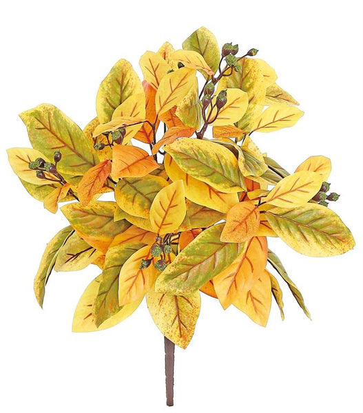 "18"" Autumn Magnolia Leaf & Pod Bush-Moss/Gold SKU FL4450-GOMS"