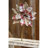 Small Red & White Plaid Poinsettia Pick SKU FXQ96760-4