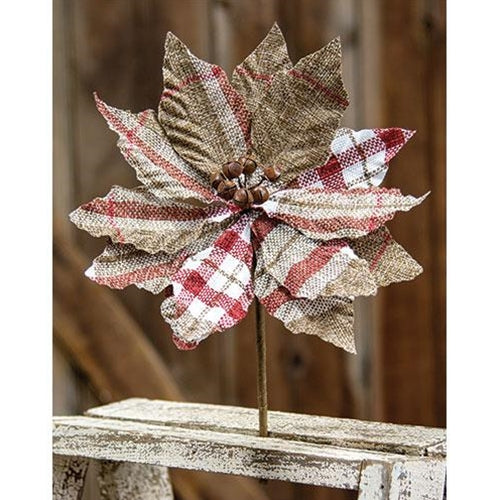 Large Red & White Plaid Poinsettia Pick SKU FXQ96760-8