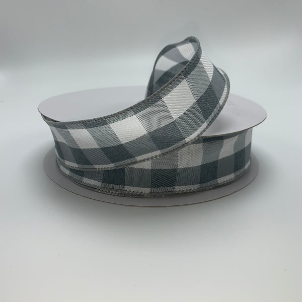 "1.5"" x 50YD Grey/White Check Ribbon - Q917909-16C"