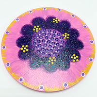 "PRE-ORDER: 6"" x 6"" Handpainted EXCLUSIVE Flower Center - Pink/Purple/White/Yellow"