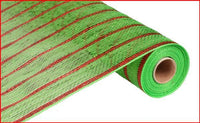 "21""  Deluxe Metallic Stripe Mesh- Wide Lime/Thin Laser Red   SKU RE1033G2"