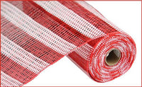 "10"" Horizontal Stripe Foil Mesh- Red/White   SKU RE1381F8"