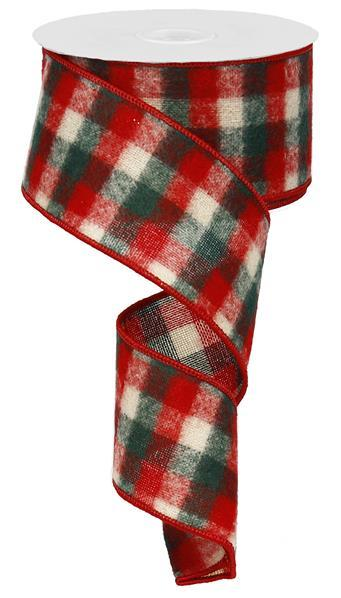 "2.5"" Flannel Mini Check Ribbon- Red/Ivory/Emerald  RG011636T"
