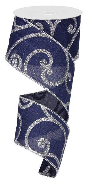 "2.5"" Bold Scroll on Royal Ribbon - Dark Navy/Silver  SKU RG0122619"
