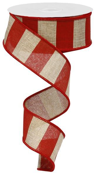 "1.5"" Wide Stripe on Royal Ribbon- Beige/Red - SKU RG0135124"