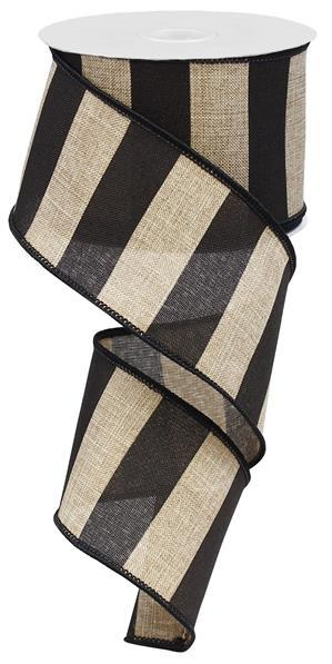 "2.5"" Wide Stripe on Royal Ribbon- Beige/Black  - SKU RG0135202"
