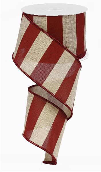 "2.5"" Wide Stripe on Royal Ribbon- Beige/Burgundy  - SKU RG0135205"