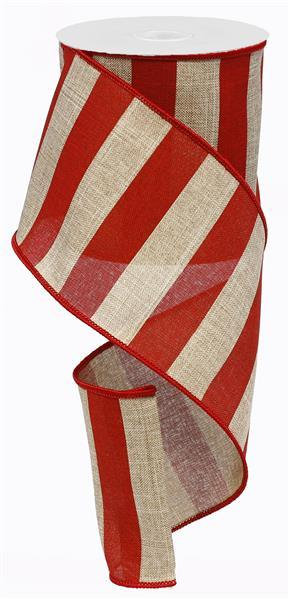 "4"" Wide Stripe on Royal Ribbon- Beige/Red  - SKU RG0135324"