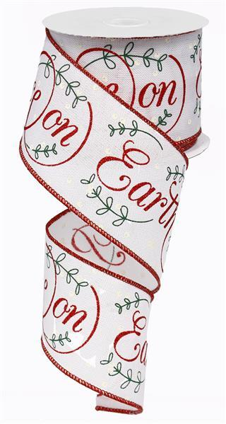 "2.5"" Peace on Earth on Royal Ribbon - White/Red/Green/Ivory  SKU RG0137867"